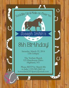 Horse Birthday Invitation Horse Riding Invite Horseshoe Western Turquoise Brown Navy Party Printable Invitation Printable Invite (153-b) by scadesigns on Etsy https://www.etsy.com/listing/183379631/horse-birthday-invitation-horse-riding