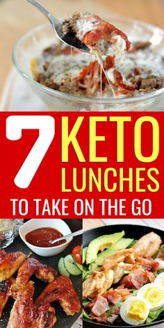 Eating lunch on keto is easier than you thought, and here are 7 keto lunch ideas that are perfect on the go or to take to work. Low Carb Dinner Recipes, Keto Dinner, Lunch Recipes, Diet Recipes, Healthy Recipes, Healthy Snacks, Healthy Eating, Low Carb Keto