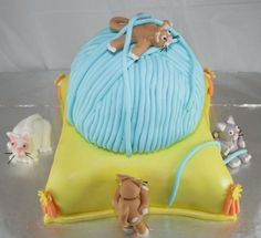 Yarn Kittens One Happy Birthday Cake Via CakeCentral Pillow Cakes