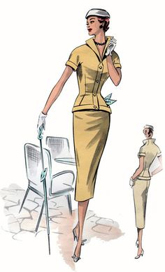 1950s fashion illustration for pattern,  butter coloured suit, 1950s fashion