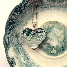 Antique Teal English Transferware Broken China Jewelry Heart Pendant necklace ivy vine