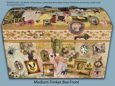 Medium  Vintage Storage Trunk decorated with French Bulldog Stamps & Postcards -Decoupaged. $99.99, via Etsy.