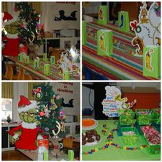 Grinch party--- a nice change from the Polar Express Day.This would make a neat birthday party them for Children born at Christmas time. Grinch Christmas Party, Grinch Who Stole Christmas, Grinch Party, Christmas Party Themes, Holiday Fun, Christmas Holidays, Christmas Crafts, Christmas Decorations, Christmas Ideas