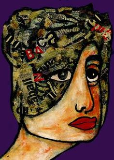 "Saatchi Art Artist CARMEN LUNA; Painting, ""35-RETRATOS Expresionistas. Sirena."" #art http://www.saatchiart.com/art-collection/Painting-Assemblage-Collage/Expressionist-Portrait/71968/51263/view/1"