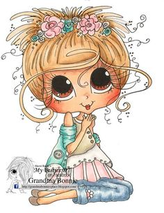 INSTANT DOWNLOAD Digital Digi Stamps Big Eye Big Head Dolls Digi  Besties Of Faith  Girl Img 875  By Sherri Baldy