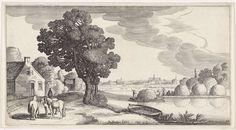 Jan van de Velde (II)   Transport van hooi op een rivier met Haarlem in de verte, Jan van de Velde (II), 1639 - 1641   Transport van hooi op een rivier. Op het water een hooischuit en aan de oever figuren bij drie hooibergen. Links een huis en een figuur en drie paarden op een pad. Aan de horizon Haarlem met onder andere de Sint-Bavokerk. Eenentwintigste prent van een serie met 36 prenten van landschappen, verdeeld over zes delen.
