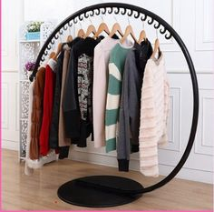 Wrought iron clothes hangers, wrought iron clothes rack, clothing store hanger landing shelf display rack clothing store island