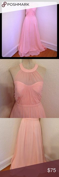 Pink quienceanera formal prom pageant long dress So stunning sexy but modest too with sheer covering at bust and back. Feel like the princess you are! Material 100% polyester. Bust 32 waist 28 hips 38 length from waist to hem 43.5 cinderella devine Dresses Prom