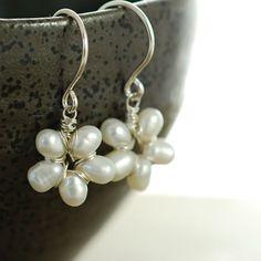 Pearl Flower Earrings Sterling Silver Handmade Wire by aubepine, $32.00