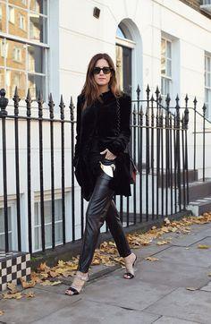 Gala Gonzalez in a velvet coat