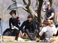 Tom Hiddleston, Jessica Chastain, Charlie Hunnam and Mia Wasikowska film scenes for Guillermo del Toro's new movie 'Crimson Peak' on May 6, 2014 [HQ]