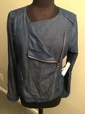 NEW NINE WEST JEANS Size S Thin Denim Zipped Shirt Jacket NWT Orig $69.50