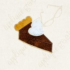 Pie Slice Applique Embroidery Design INSTANT DOWNLOAD for DIY projects, from Designed by Geeks. Use any embroidery machine - Brother, Viking, Janome, Bernina, Pfaff, Singer - to stitch this design.  This is an appliqué design of a slice of pie with whipped cream on top, perfect for Thanksgiving or Christmas, or just anyone who loves pie! Does not include text.