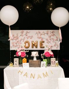 Head table from a Japanese Cherry Blossom 1st Birthday Dol via Kara's Party Ideas | KarasPartyIdeas.com (32)