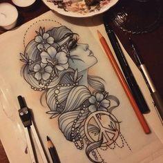 tatto… – create your own unique tattoo!tatto… – create your own unique tattoo! Hippie Girl Tattoos, Hippie Tattoo, Face Tattoos, Leg Tattoos, Sleeve Tattoos, Tatoos, Gypsy Tattoo Sleeve, Unique Tattoos, Beautiful Tattoos