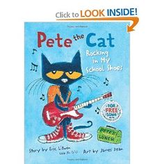 "Pete the Cat: Rocking in my School Shoes - present progressive ""-ing"" verbs, ""Where Questions"", and describing"