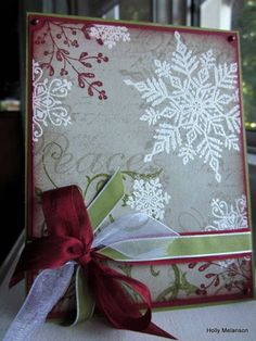Stampin' Up! Snowflakes set - I love this snowflake card, must do something similar!using four kinds of stamps. Holly Melanson - Cards and Paper Crafts at Splitcoaststampers. Stamped Christmas Cards, Christmas Paper Crafts, Homemade Christmas Cards, Christmas Cards To Make, Noel Christmas, Xmas Cards, Homemade Cards, Handmade Christmas, Holiday Cards