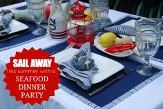 For a nautical theme party. Like the idea of a lantern centerpiece - colorful and easy!
