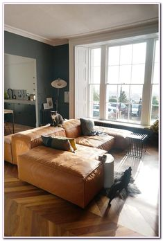 living #room #Blue #Walls #Brown #Couch