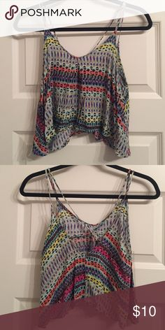 Colorful crop top Strapping crop top tanktop, never worn Tops Tank Tops