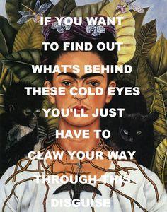 "pinkfloydart: "" In The Flesh? - Pink Floyd / Self Portrait With Hummingbird - Frida Kahlo """
