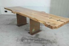 110' Maple Burl Slab Custom Dining Table with Salvaged Steel Base