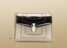 Bulgari Small Shoulder Bag In Brushed Metallic Calf Leather