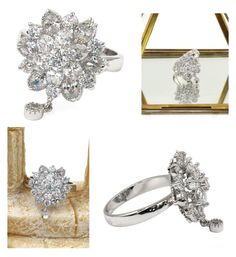 """""""Bonzer crystal flower small pendant silver ring"""" by oceanfashion on Polyvore"""