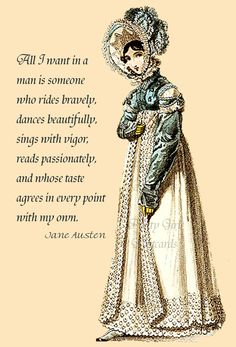 DECOR: All I want in a man is someone who rides bravely...  Jane Austen Quotes Postcard  Sense and Sensibility -. $2.50, via Etsy.