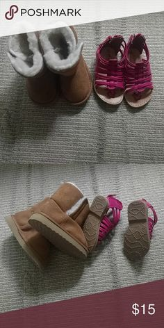 Toddler girl shoe bundle Cozy fleece lined boots and adorable hot pink sandals toys r us Shoes