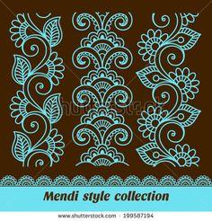 Mehndi-style ornamental seamless borders | Bariskina via Shutterstock