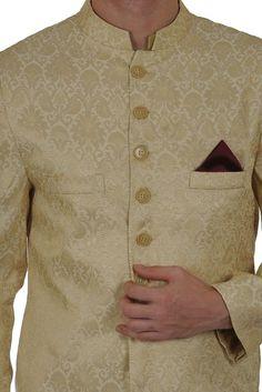 Cream-Gold Floral Weave Cotton Brocade Sherwani