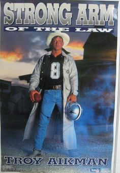 Troy Aikman Costacos Strong arm of the Law  Poster 24x36 Dallas Cowboys NFL UCLA