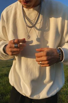 Grunge Fashion, Mens Fashion, Chains For Men, Moda Casual, Silver Accessories, Bracelets For Men, Rings For Men, Nail Ring, Mens Chain Necklace