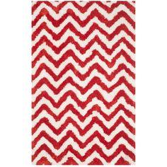 Safavieh Handmade Barcelona Shag White/ Rust Chevron Polyester Rug (3' x 5') (BSG320E-3), Size 3' x 5'