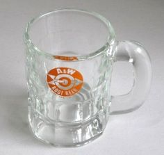 A Baby Mug - Has the early Bulls Eye Root Beer Logo Glass. Mom always got me the little mug full of root beer whenever we stopped at A were the days when the waitresses brought a tray of food out to the car and hung it on your window....Do you remember those days?