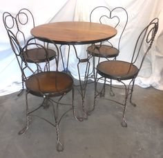 1890s Chicago Wire Co. Soda Fountain Table & Chairs Set