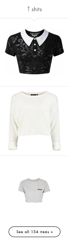 """T shits"" by yaseumin ❤ liked on Polyvore featuring tops, patterned tops, rock tops, print top, baby doll crop top, print crop tops, sweaters, shirts, crop tops and white knit sweater"