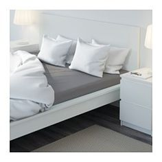 """IKEA - ULLVIDE, Fitted sheet, Queen, , The lyocell/cotton blend absorbs and draws moisture away from your body and keeps you dry all night long.Extra soft and durable quality since the bedlinen is densely woven from fine yarn.Fits mattresses with a thickness up to 13"""" since the fitted sheet has elastic edging all around."""