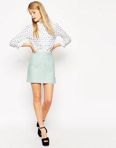 ASOS - Minijupe trapeze en lin shoping tenuedujour lookdujour mode femme ete achat fashion mignon jolie tendance ootd lux