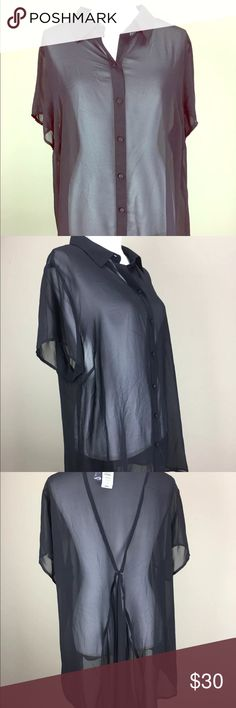 TORRID NWT Size 2 Sheer Blouse Size 2 Black sheer NWT Ruffle in back 29 inches long 48 inch bust Lane Bryant Tops Blouses