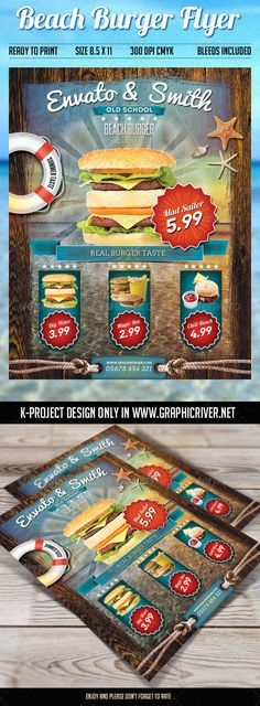 Beach #Burger Flyer - #Restaurant #Flyers Download here: https://graphicriver.net/item/beach-burger-flyer/8002182?ref=alena994