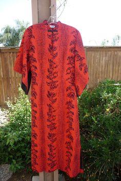 Vintage Made In Hawaii 1970's Red and Black Reef Hawaiian Dress, Gown, Moo Moo, Side Zipper, Size Medium