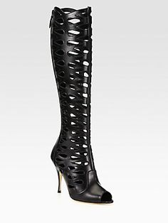 Wait List! Brian Atwood Electra Leather Cutout Knee-High Boots
