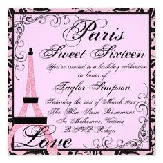 Pink/Black Paris Sweet16 Birthday Invite.  $2.85