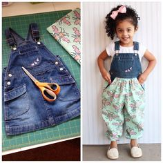 DIY - Refashioned / Upcycled Jean Skirt Jumper to Bubble Pants Jumper...want grown up version!!