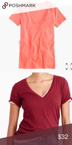 """NWT J. Crew Vintage Cotton V Neck T Shirt Brand new with tags, color is Neon Persimmon which is a pinkish coral color and shown in maroon only to show fit. This top has a loose fit. """"Back in 2004, we set out to replicate one of our favorite thrift-store T-shirts, and the result is our vintage cotton—famous for its heathered texture and softness. Since it's so featherweight, we recommend taking extra care when washing: Treat it like you would lingerie, not gym gear.""""  Vintage slub cotton…"""