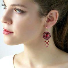 Swarovski crystal chandelier earrings Red beaded earrings | Etsy