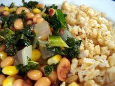 Baltimorean Beans and Rice: Black eyed peas, kale, ACV, worchestire, corn, Old Bay seafood seasoning, yellow squash.