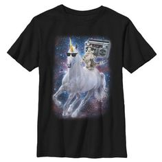 Lost Gods Boombox Cat and Unicorn Space Song - Boys Graphic T Shirt, Boy's, Size: Medium, Black